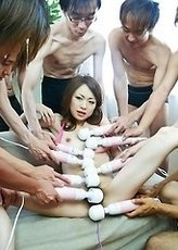 Sara Seori Asian has pussy spread and gets vibrators all over