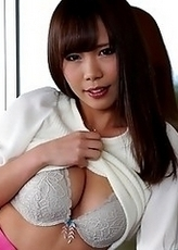 Sexy and lovely Japanese av idol Mikuru Mio takes off her clothes one by one