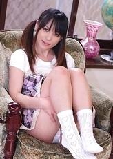 Arisa Suzuki shows pussy in white panties
