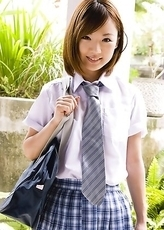 Sexy Japanese Asami Tani  takes uniform off piece by piece and smiles