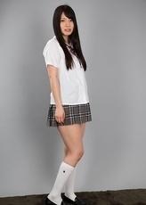 Seductive schoolgirl Sana Iori jerking a guy's cock with her delightful feet right here