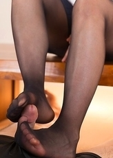 Angelic brunette Ai Mukai gives a perfect pantyhose job that ends with a cumshot